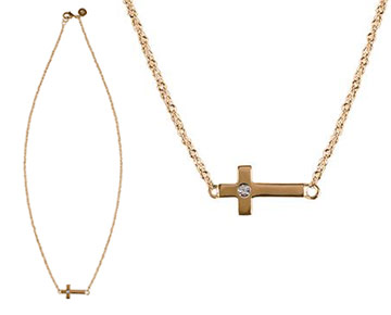 Necklace - Camden Cross Necklace with diamond center - Gold