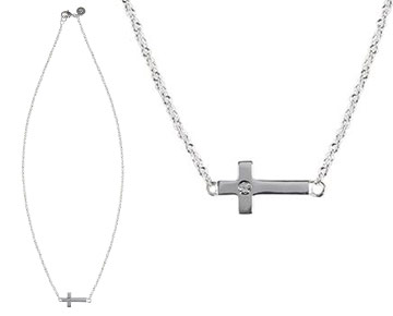 Necklace - Camden Cross Necklace with diamond center - Silver