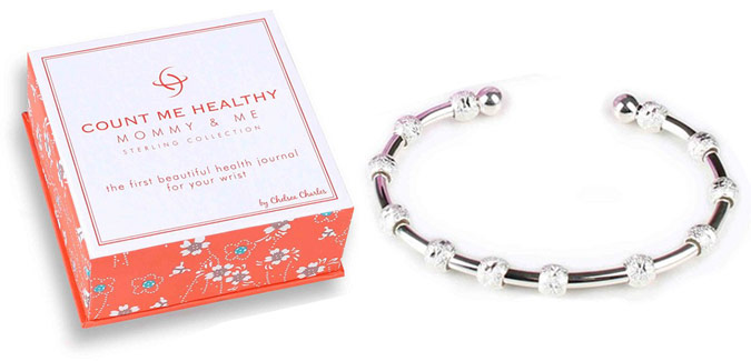 Count Me Healthy Mommy and Me bracelet is the first and only health journal for your wrist designed specifically for the modern, on-the-go mom or mom-to-be. Mommy and Me helps women track individual health and life goals.
