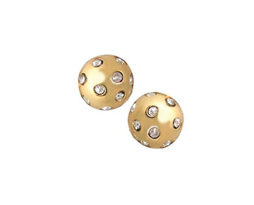 Earings - Gypsy Crystal Ball Studs - Gold