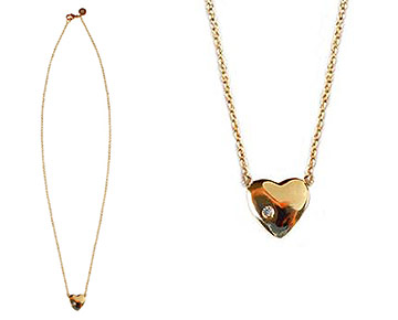 Necklace - Heart Necklace with Diamond - Gold