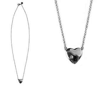 Necklace - Heart Necklace with Diamond - Silver