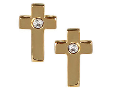 Earings - Gold Cross Studs with Diamond Center