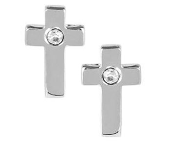 Earings - Silver Cross Studs with Diamond Center