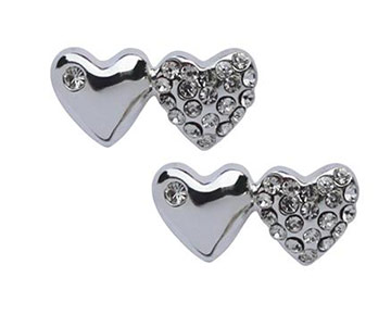 Earings - Two Hearts Studs - Silver